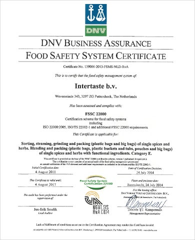 food safety management certificate