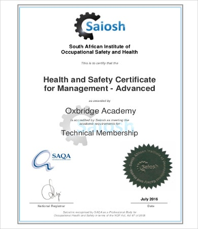 Safety Management Certificates - 7+ Sample, Example, Template ...