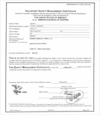 voluntary safety management certificate