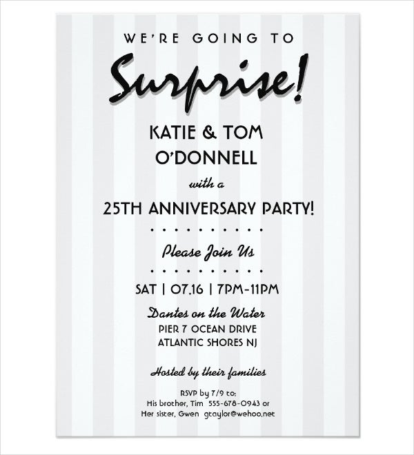 surprise anniversary dinner invitation