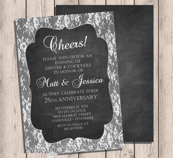 anniversary chalkboard dinner invitation