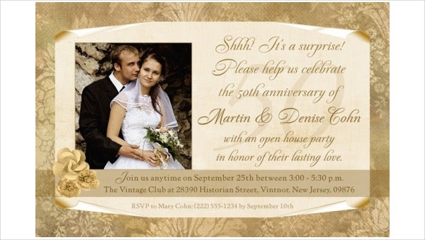 50th anniversary dinner invitation