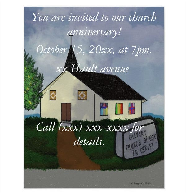 church anniversary dinner invitation