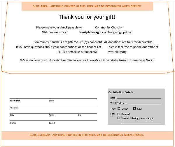 Donation Envelope Templates  Free Printable Word Psd Pdf