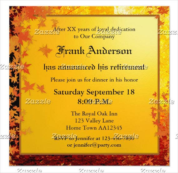 Retirement Farewell Dinner Invitation