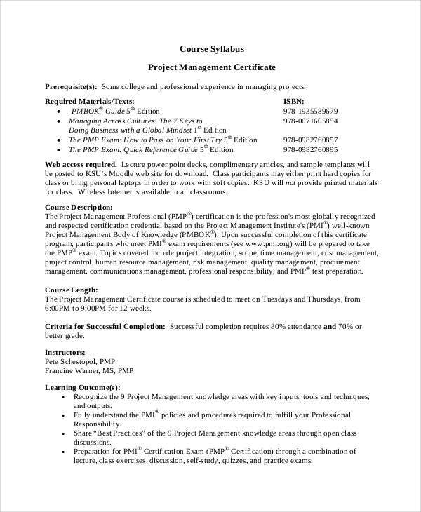 Project management certificates 7 free pdf documents download college project management certificate ccpennesaw details file format yadclub Choice Image