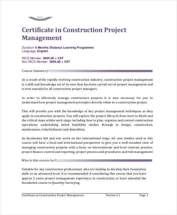 Project management certificates 7 free pdf documents download construction project management certificate yelopaper Images