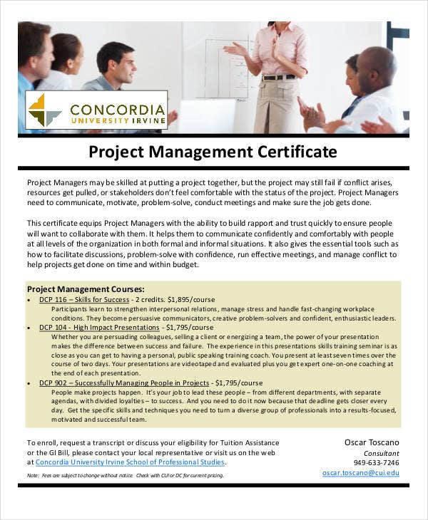 free project management certification