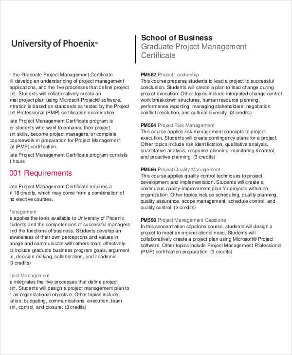 graduate project management certificate