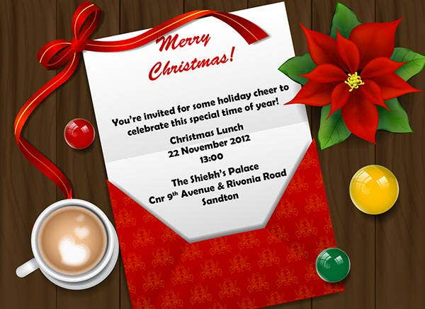 team christmas lunch invitation