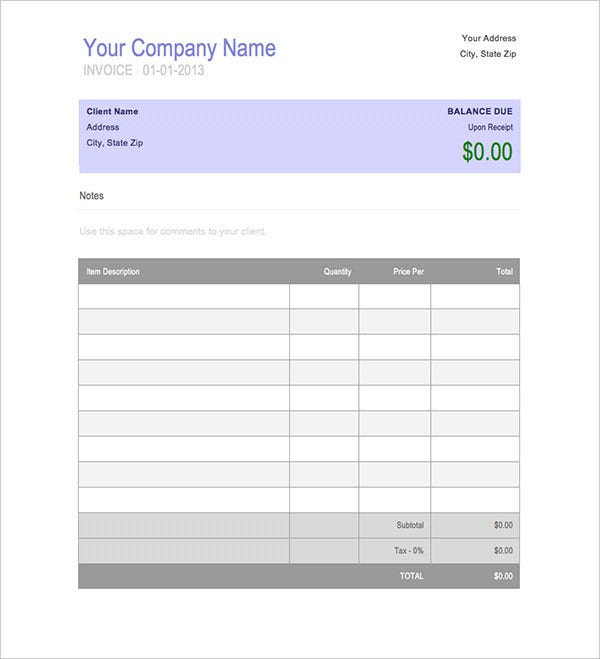 Blank Invoice Book Template