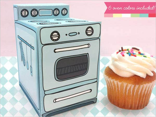printable oven cupcake box template