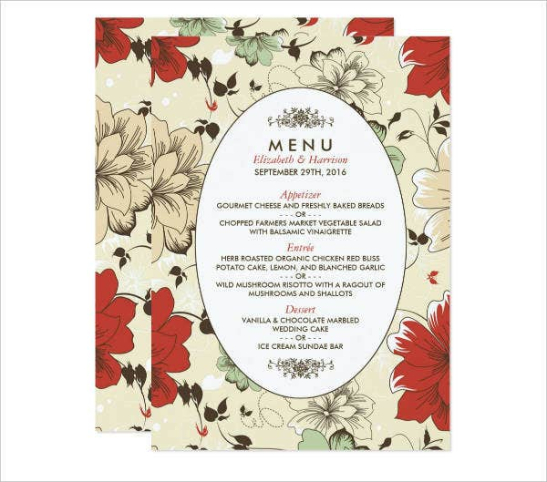 Garden Theme Party Menu Design