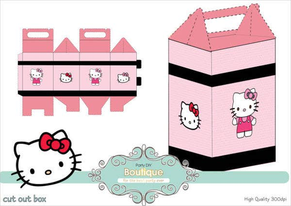 hello kitty cupcake box template