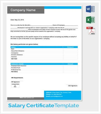 complete salary certificate template