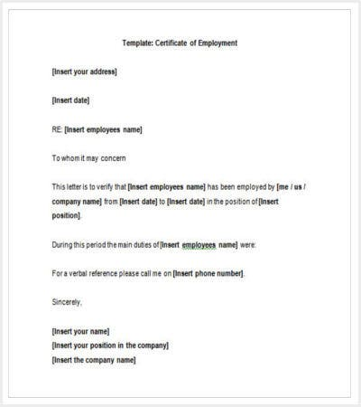 Free Template Certificate Of Employment Sample