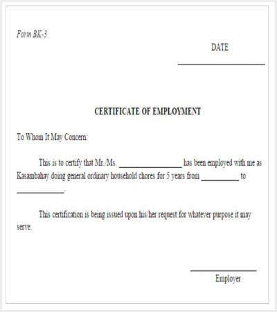 30 Certificate Template – Sample of Certification of Employment