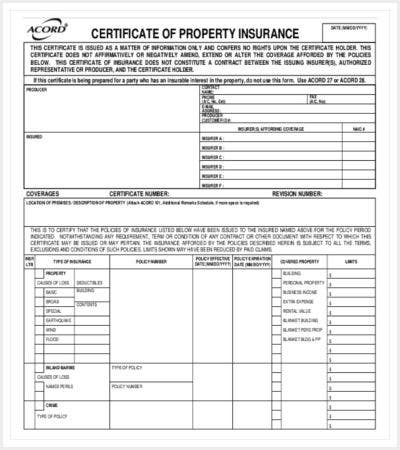 certificate of property insurance