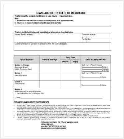 standard certificate of insurance template free download