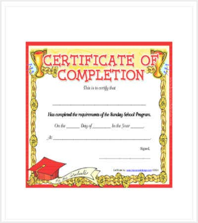 sunday school completion certificate template