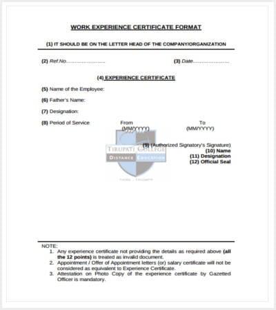 30 Certificate Template – Work Experience Certificate Template