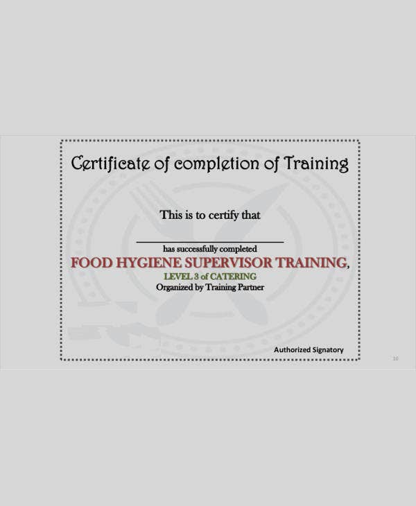 Service Training Certificate - 8+ Sample, Example ...