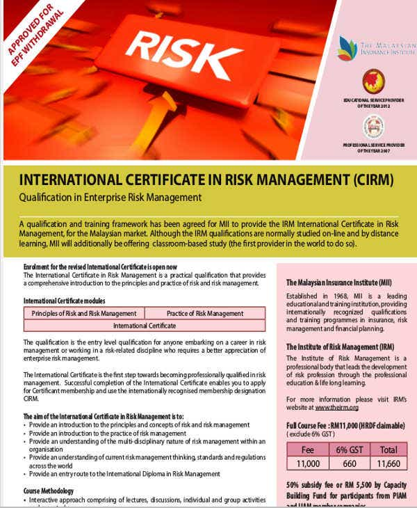 risk management training certificate