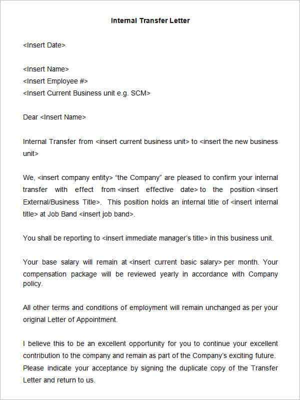 33 transfer letter templates free sample example format write an incredible and well sculpted internal job transfer letter for your hr department this is the perfect template that will help you to get moved into thecheapjerseys Images