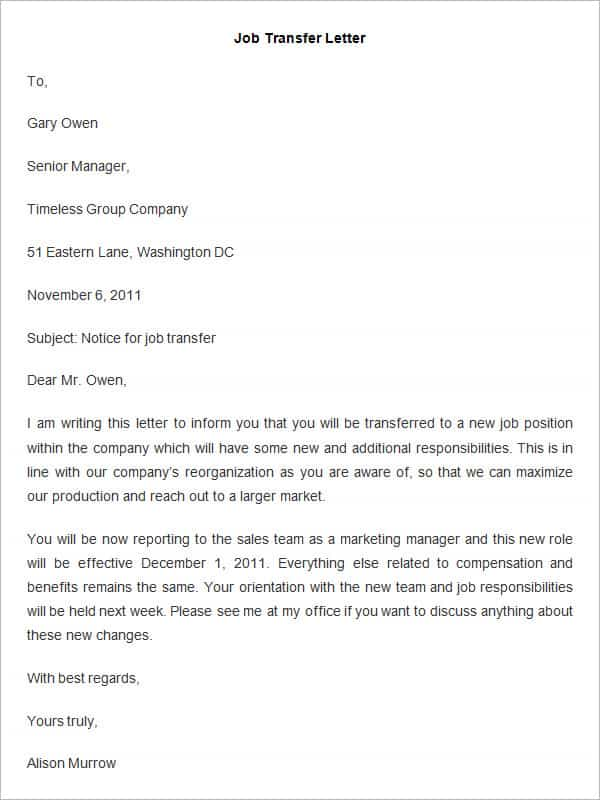 job transfer letter - Kozen jasonkellyphoto co