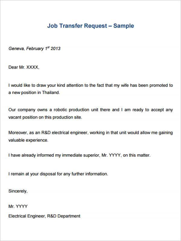 Letter Of Transfer Request  BesikEightyCo