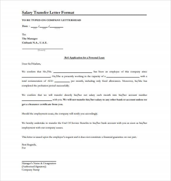 39 Transfer Letter Templates Free Sample Example Format – Salary Application Format