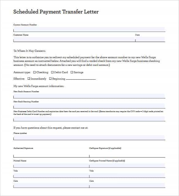 scheduled payment transfer letter template