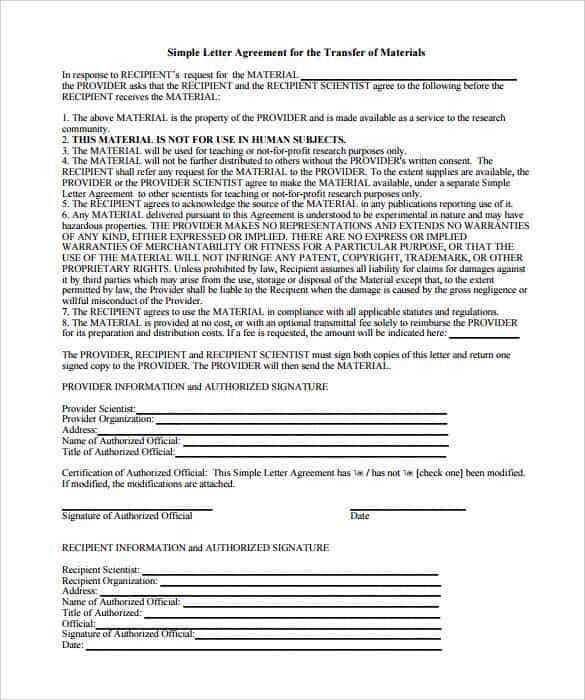 simple letter agreement for the transfer of materials printable min