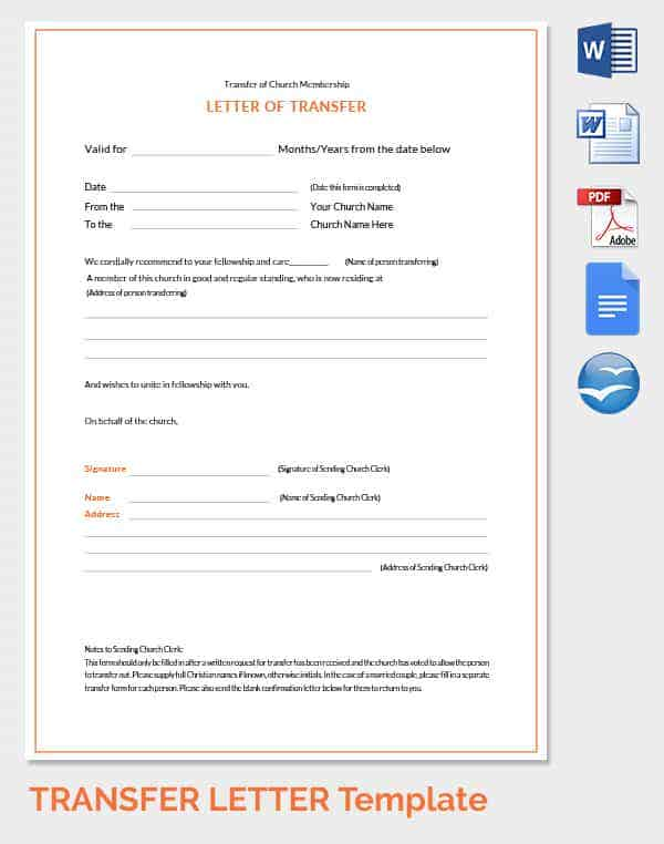 33 transfer letter templates free sample example format free church membership transfer letter template altavistaventures Choice Image