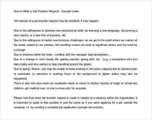 how to write a job transfer request letter - How To Write Application Letter For Work