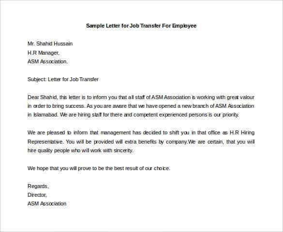 Reassignment letter to employee