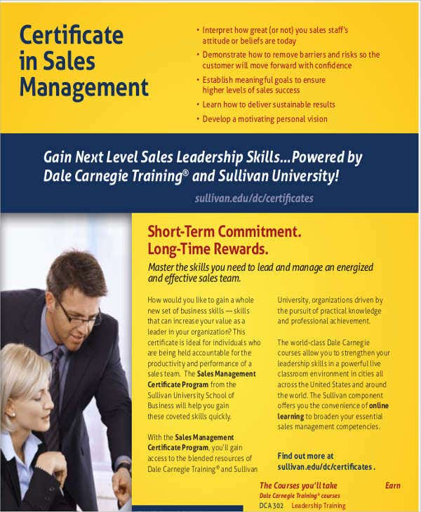 sales management training certificate