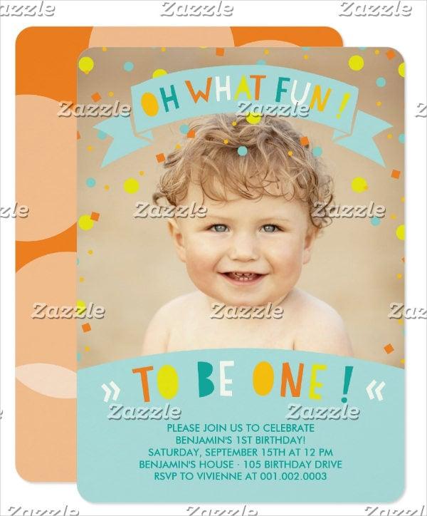 baby birthday photo invitation
