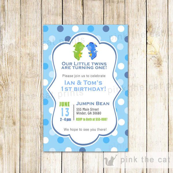 twin baby birthday invitation