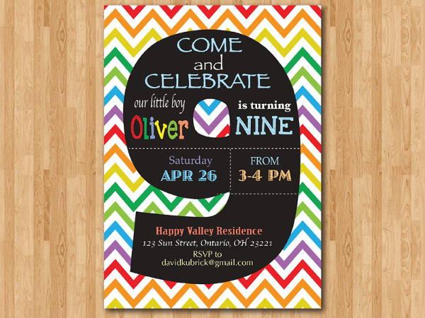 chalkboard chevron birthday invitation