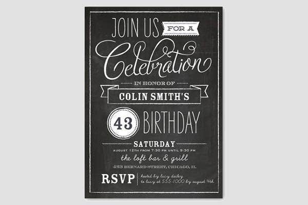 surprise chalkboard birthday invitation