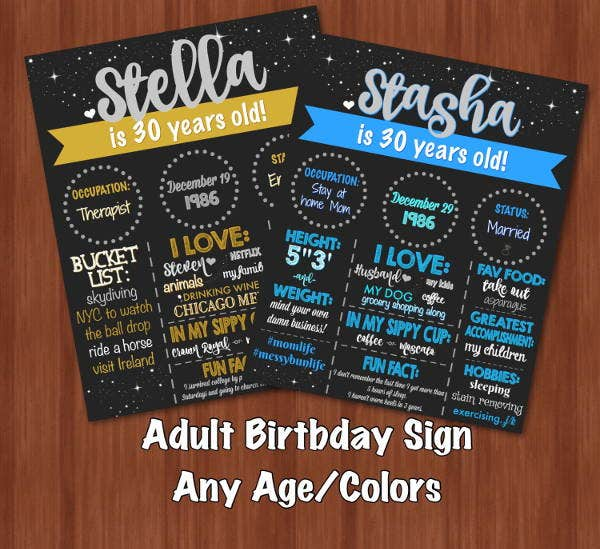 chalkboard adult birthday party invitation