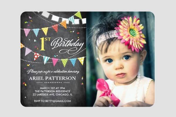 chalkboard birthday photo invitation