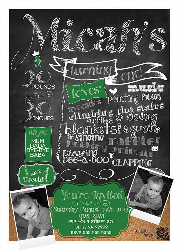 inspired chalkboard birthday invitation
