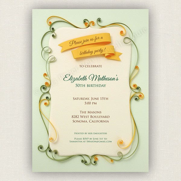 Free Printable Vintage Birthday Invitation
