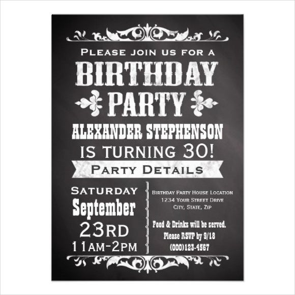 8+ vintage birthday invitations - jpg, vector eps, ai illustrator,