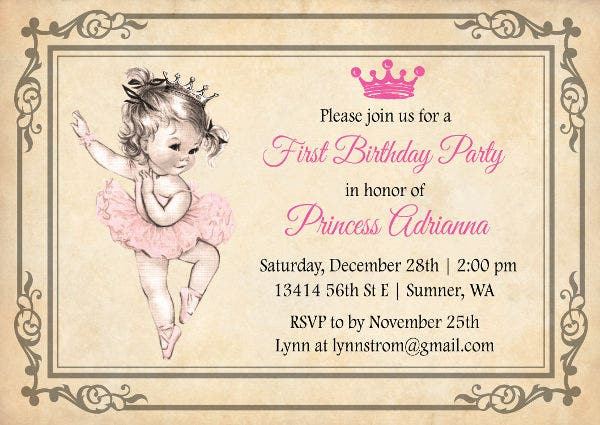 Vintage Girl Birthday Invitation