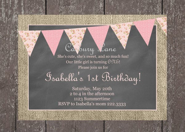 Vintage Birthday Invitations JPG Vector EPS Ai Illustrator - Retro birthday invitation template