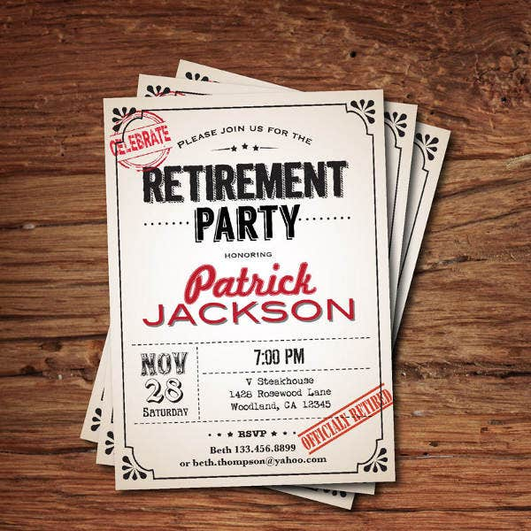 vintage retirement farewell invitation