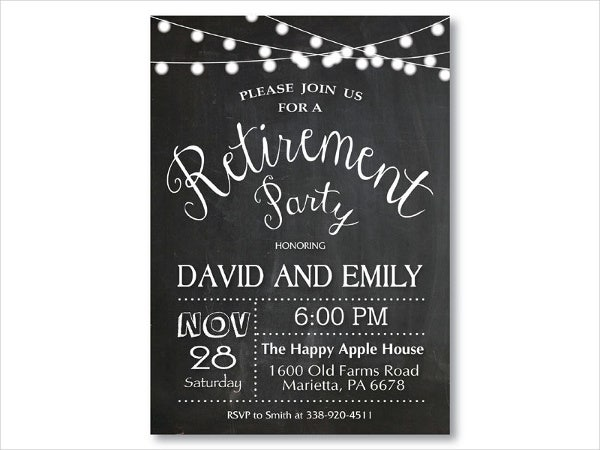 chalkboard themed retirement farewell invitation